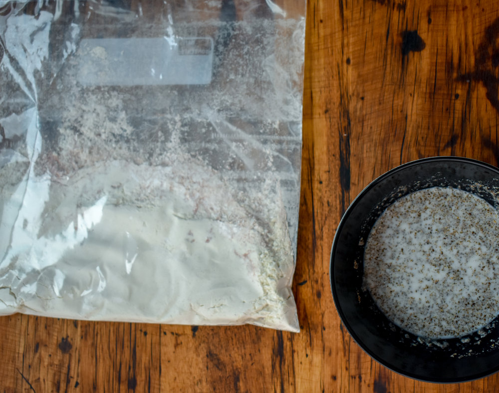 10. While the biscuits bake and the chicken is finishing its boil process, place the flour mixture into a ziploc storage baggie. In a bowl mix together the chia meal + milk. Set aside.