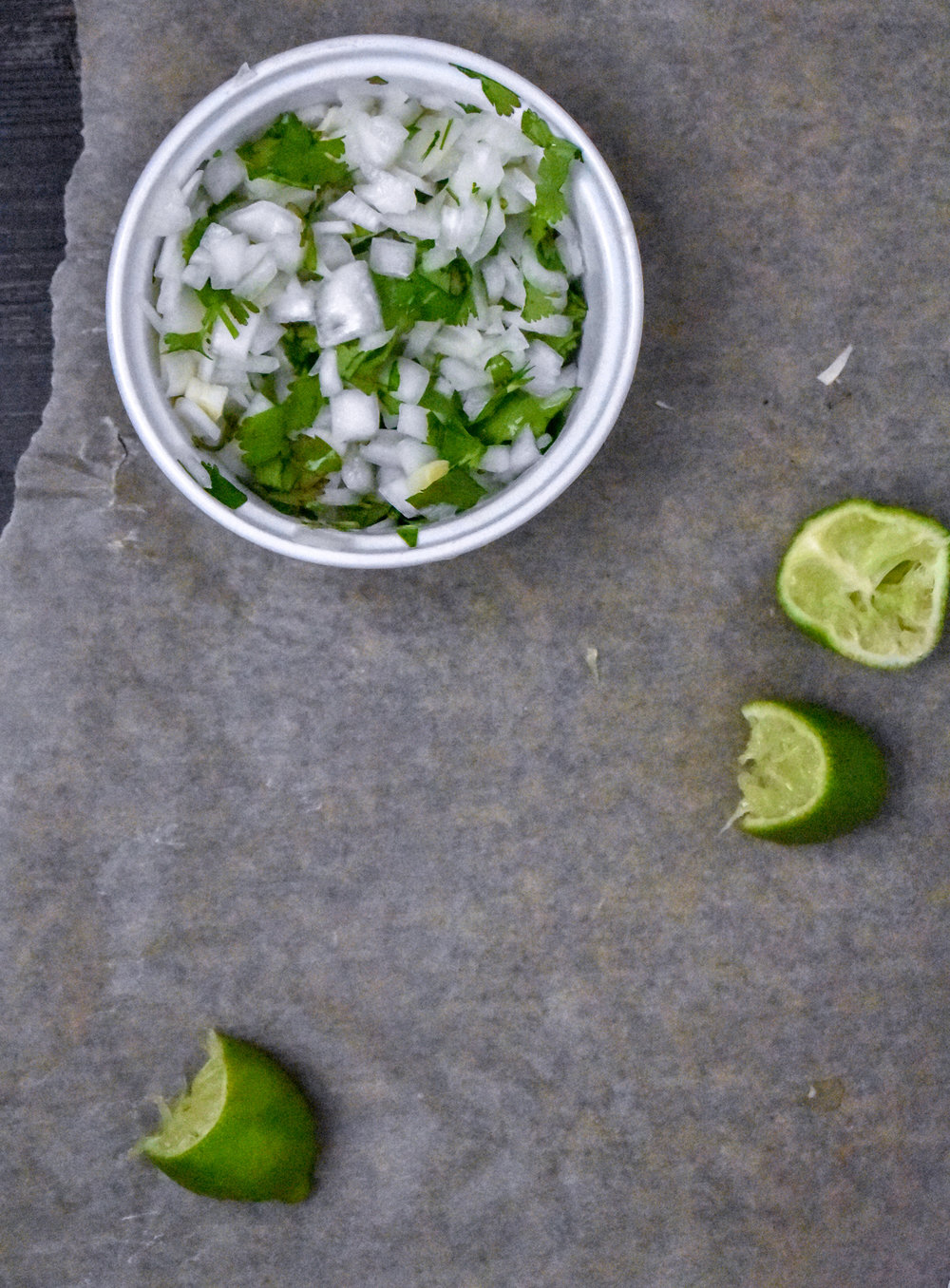 7. Lastly, dice some onions with cilantro and lime. Mix and set aside.