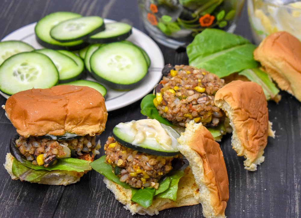 9. To serve, add fresh greesn to bun, slider, add cucumber slice, and miso mayo. Finally top with bun top! Enjoy!