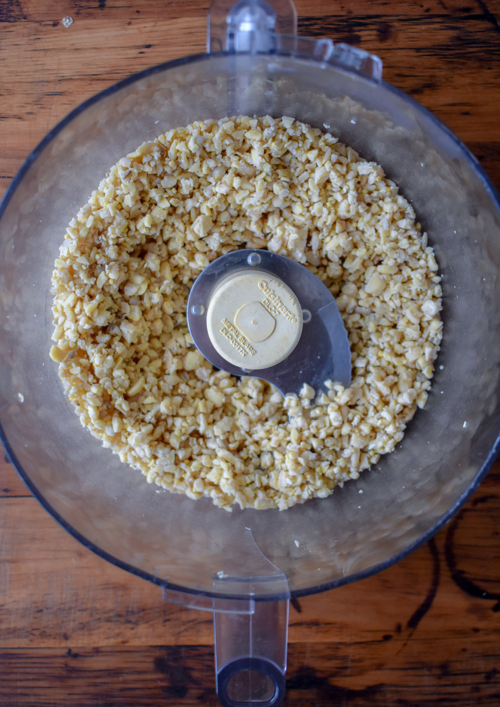 1. While the lentils cook, add tempeh to food processor and blend until tempeh becomes like oversized rice granules.