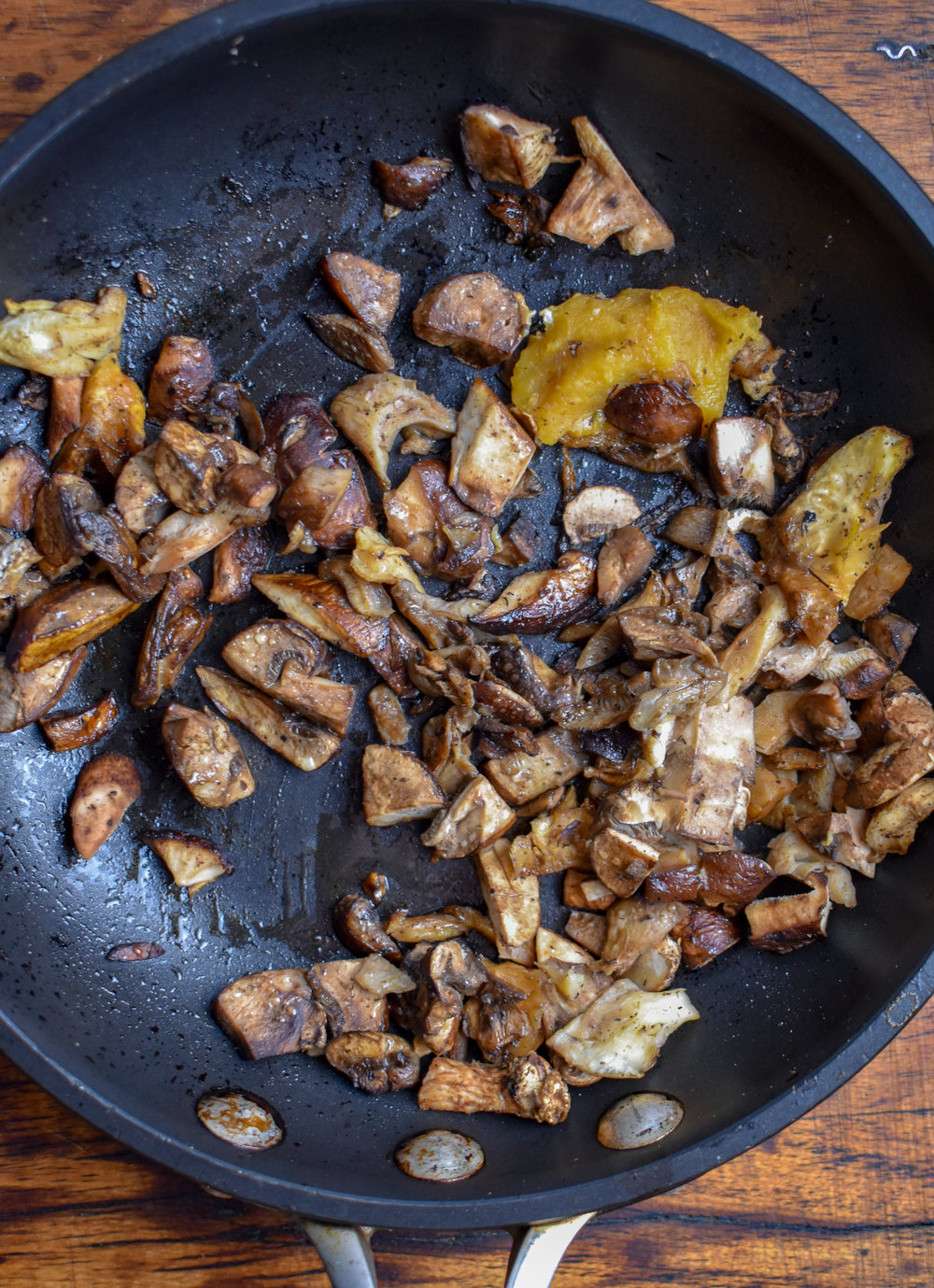 4. While the soup simmers, add all the mushroom ingredients to a medium or small frying pan with 1 tbl olive oil for 6-8 minutes until the mushrooms soften down.