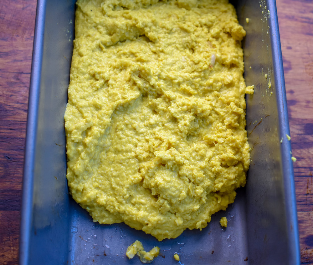 4. Add the cheese mixture to a loaf pan. Spread evenly. Place in freezer for 30 minutes, then refrigewrate for another 90 minutes so its completely set.