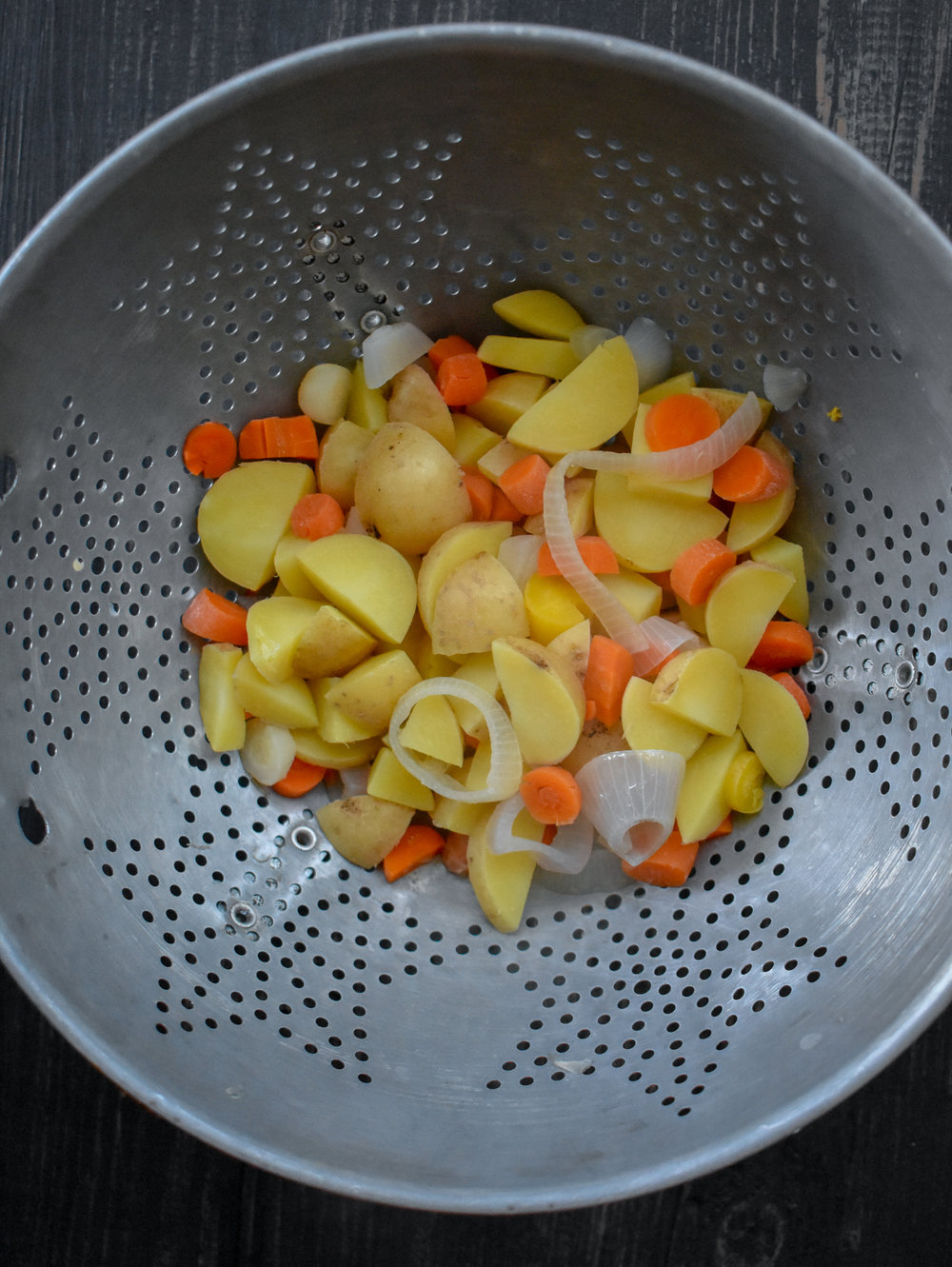 1. Place potatoes, carrots, and shallots into pot of 6 cups of boiling water. Boil for 10 minutes then drain and add to a food processor.