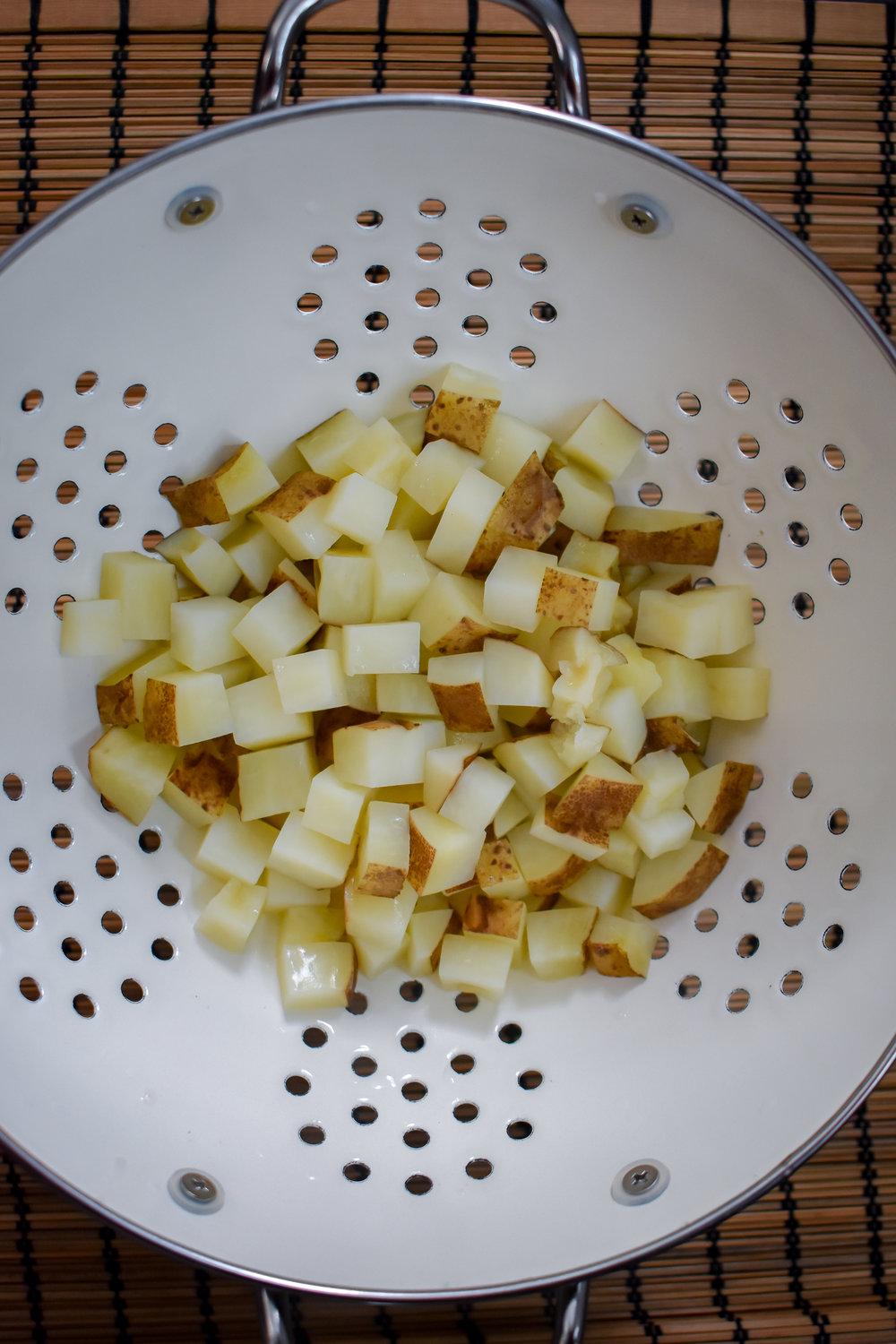 1. To start, add potatoes to a large microwave-safe bowl with 2 tbl of water. Microwave for 6 minutes to parboil potatoes.