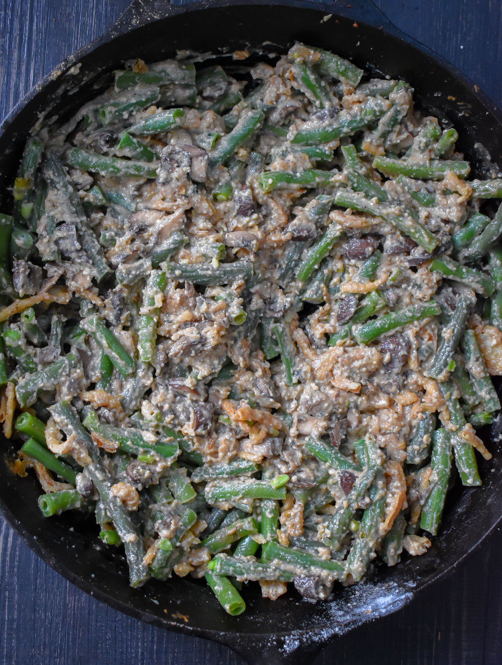6. Once off the heat, mix in the green beans and about 1/3 of the crispy shallots.