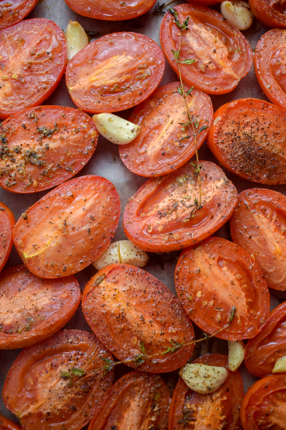 3. Layer the tomatoes, cut side up, on parchment-lined baking sheet. Add to preheated oven at 400F and roast for 45 minutes. When done you'll add to tomato soup.
