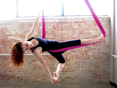 Aerial Hammock - This class is for all levels. Students will explore aerial hammock while suspended in the air to learn diverse aerial poses and interesting transitions. Those skills will be used to create fun sequences that flow together as students fly through the air!