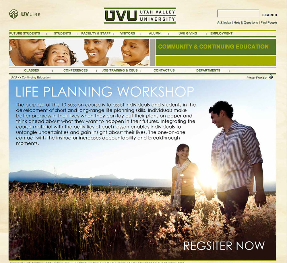 Internal Site Design, for UVU Community & Continuing Education