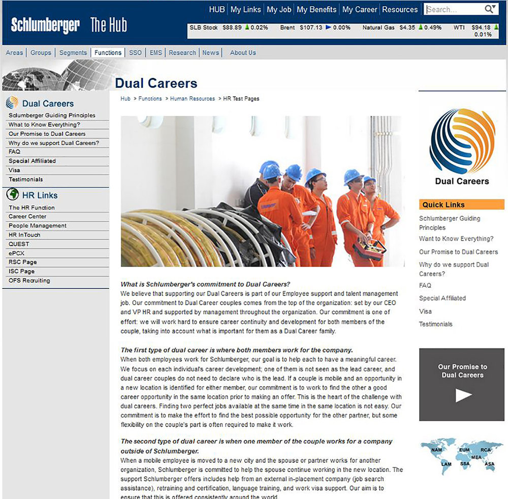 Dual Careers, Schlumberger
