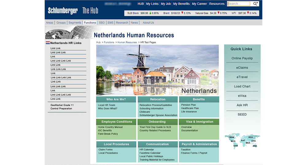 Individual Country Page Design, Schlumberger