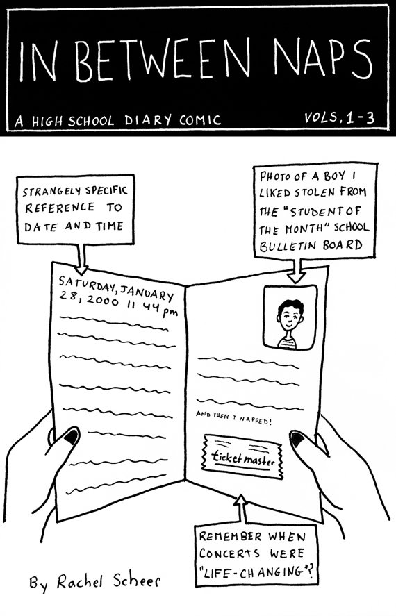 A three volume collection of the author's high school diary adapted into comic book form. Read about the author's misadventures in navigating family, imagination, crushes, decisions about her future and marching band.  Black and white, 24 pages, 5.5 x 8.5, lilac card stock cover   Purchase