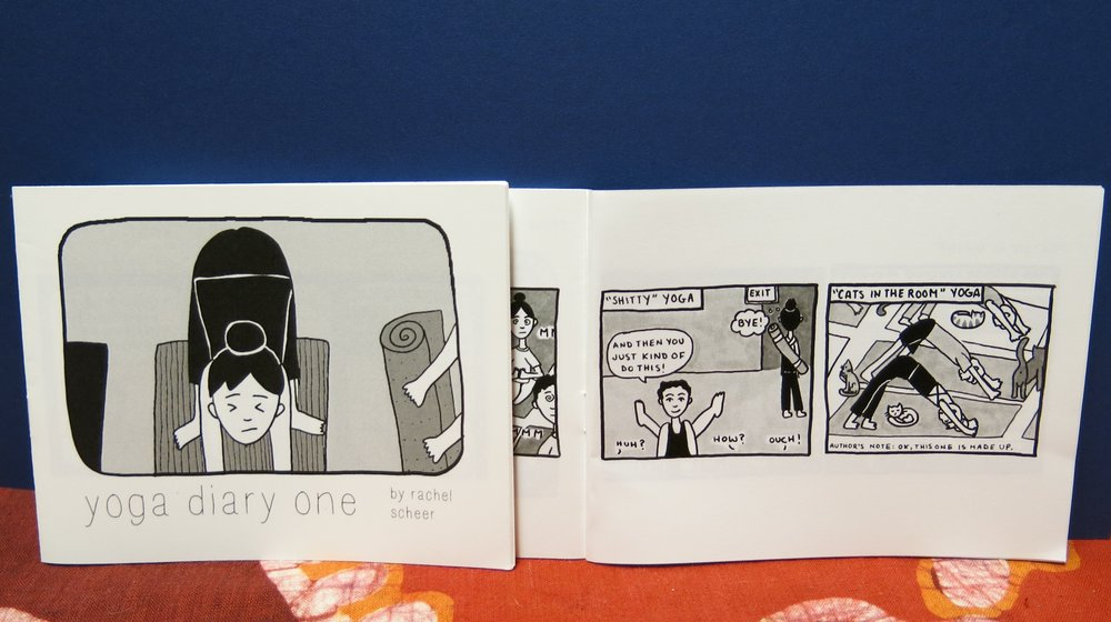 Six autobiographical comic tales of the frustration and elation that yoga has brought into the author's life: from the joys of going to yoga alone, to the perils of attending class out of town, to the dark thoughts that enter one's mind on the mat.  Black and white, 20 pages, 5.5 x 3.25, paper cover   Purchase