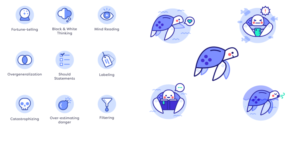 Icons for thinking traps and illustrations for onboarding