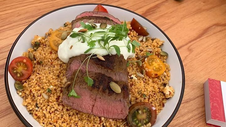 Plated up - easy BBQ Moroccan lamb with Tzatziki and couscous.
