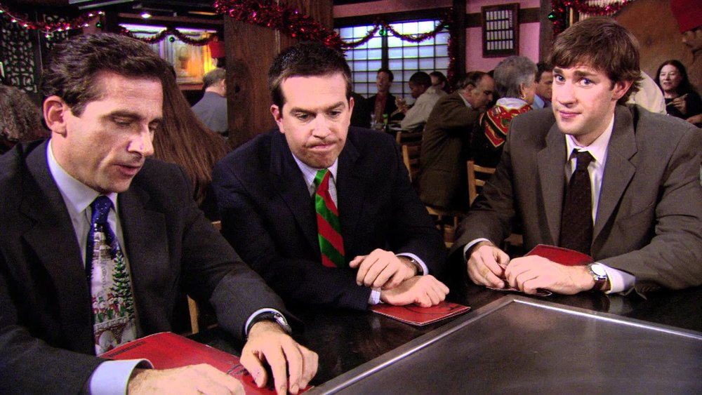 One scene from  The Office  -  A Benihana Christmas  taken place at a Benihana restaurant.