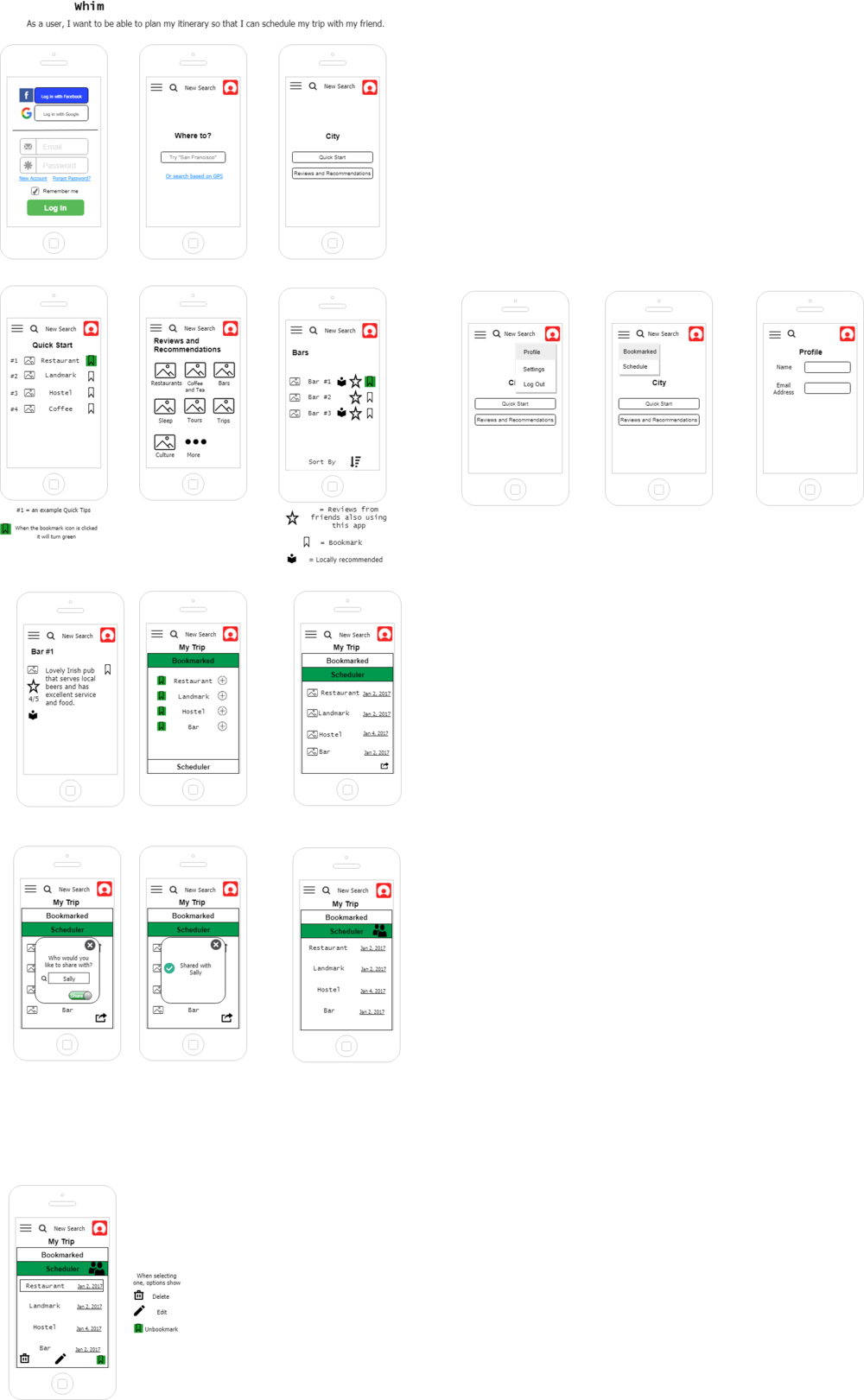 Wireframes drawn via draw.io.