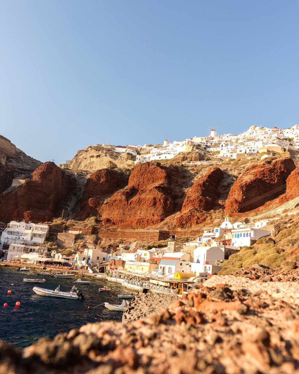View of Oia from the bottom. Time to climb the stairs back