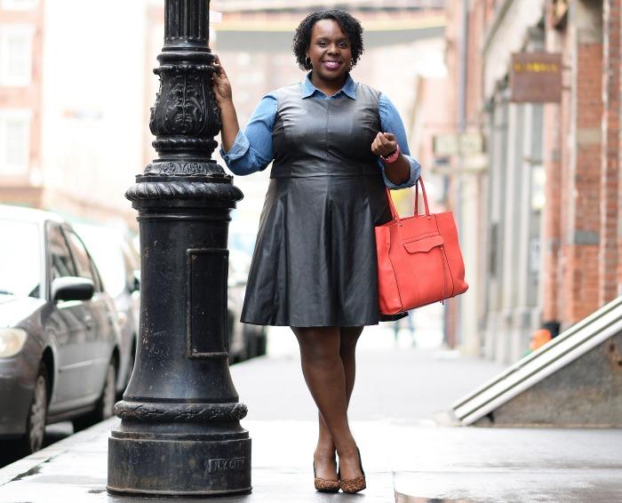 Edited Plus Size Leather Dress CeCe Olisa H