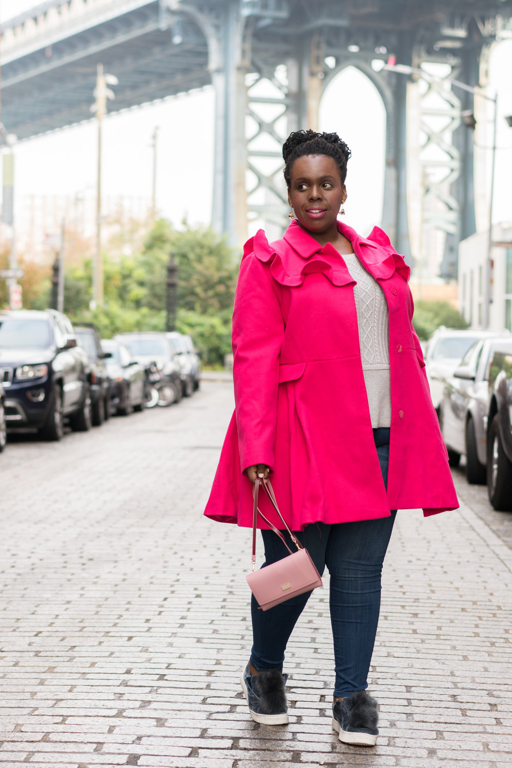 CeCe Olisa Cute Plus Size Coat Pink Plus Size Coat