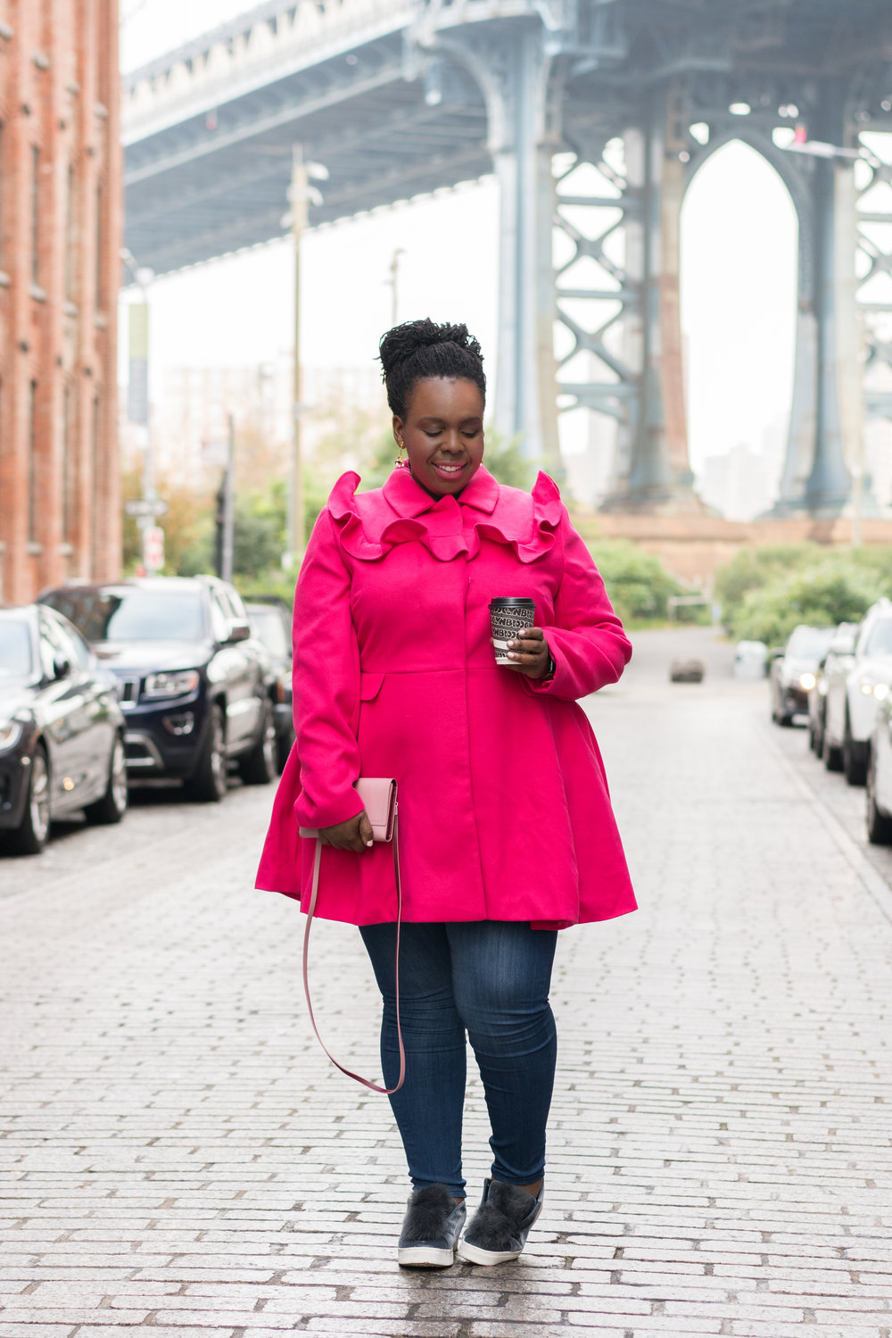 CeCeOlisa.com Cute Plus Size Coat Pink Plus Size Coat