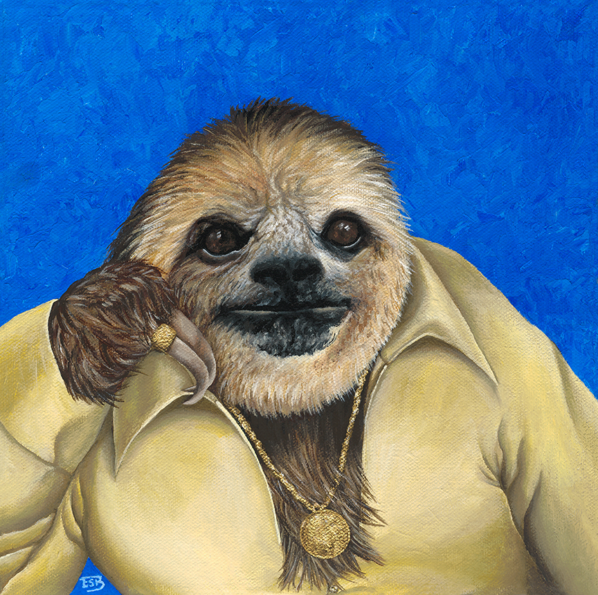 "Disco Sloth   / 10""x10"" / 2017 / acrylic on canvas -  SOLD"