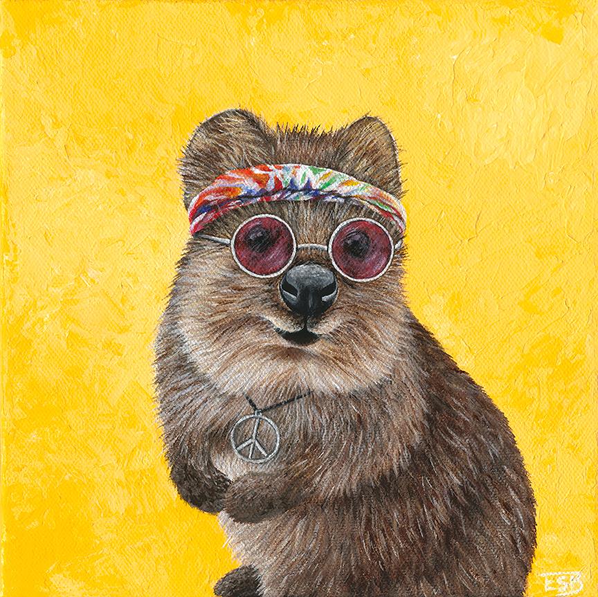 "Hippie Quokka   / 8""x8"" / 2017 / acrylic on canvas"