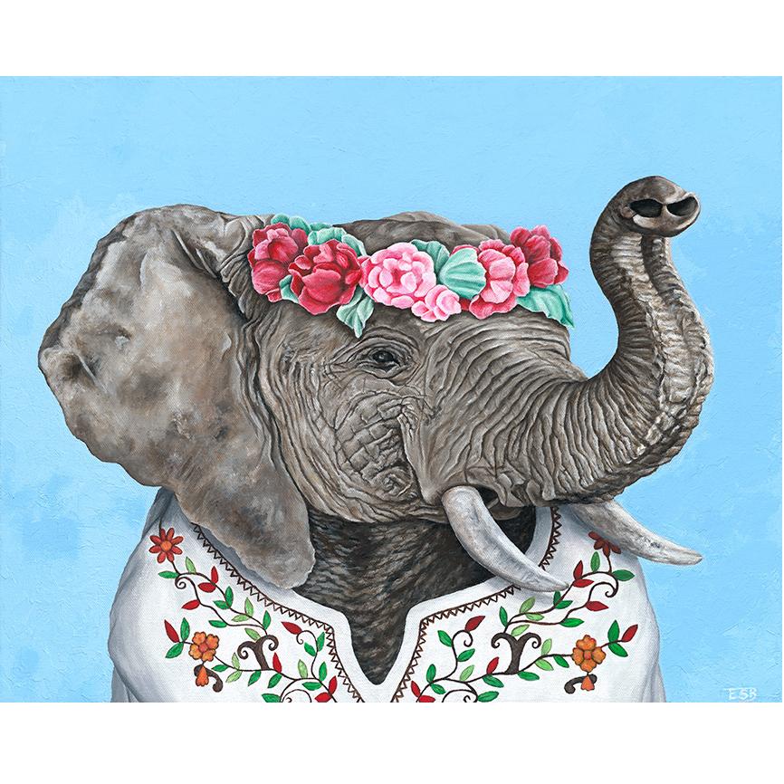 """Festival Elephant   / 16""""x20"""" / 2017 / acrylic on canvas"""