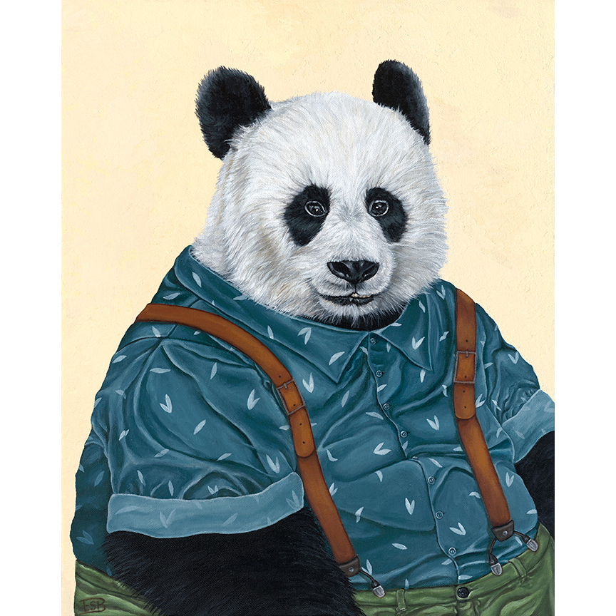 "Hipster Panda   / 16""x20"" / 2017 / acrylic on canvas"