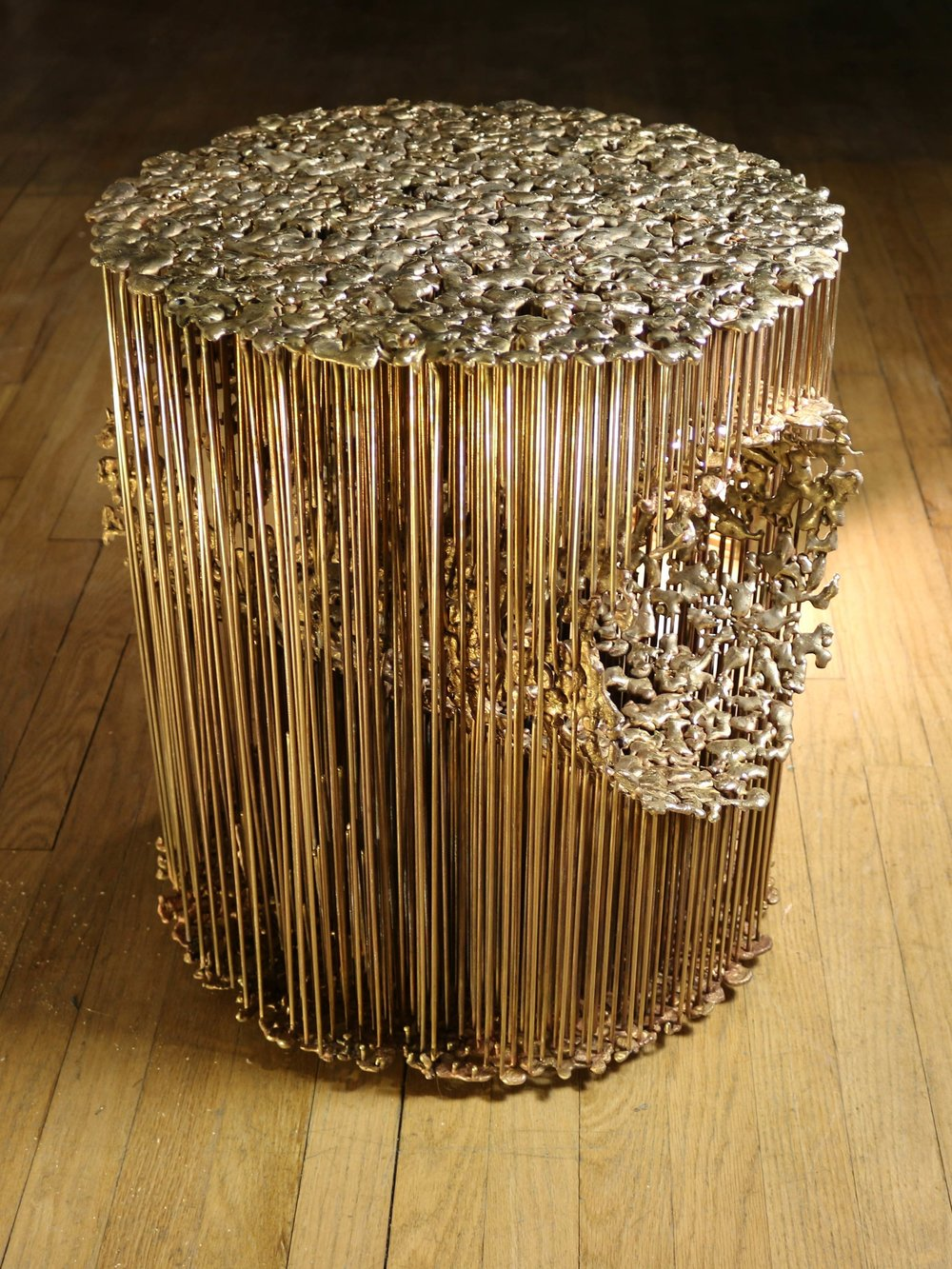 bronze end table, 2014