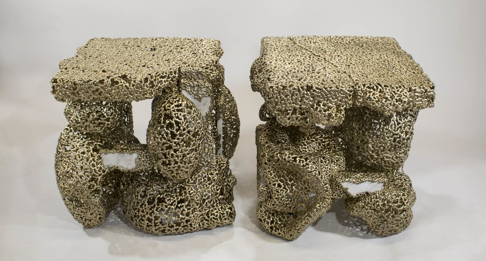 bronzed marble end tables, 2016