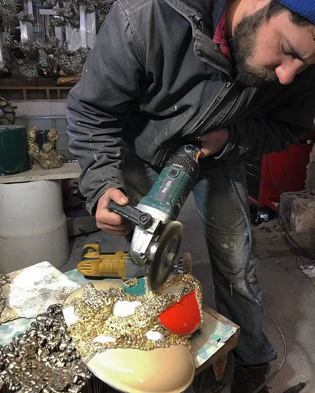 New bronze and enameled steel. @abuzzalini putting on final touches. Exhibition opens tomorrow 6-10 @wassermanprojects @salon94design @johnson_trading