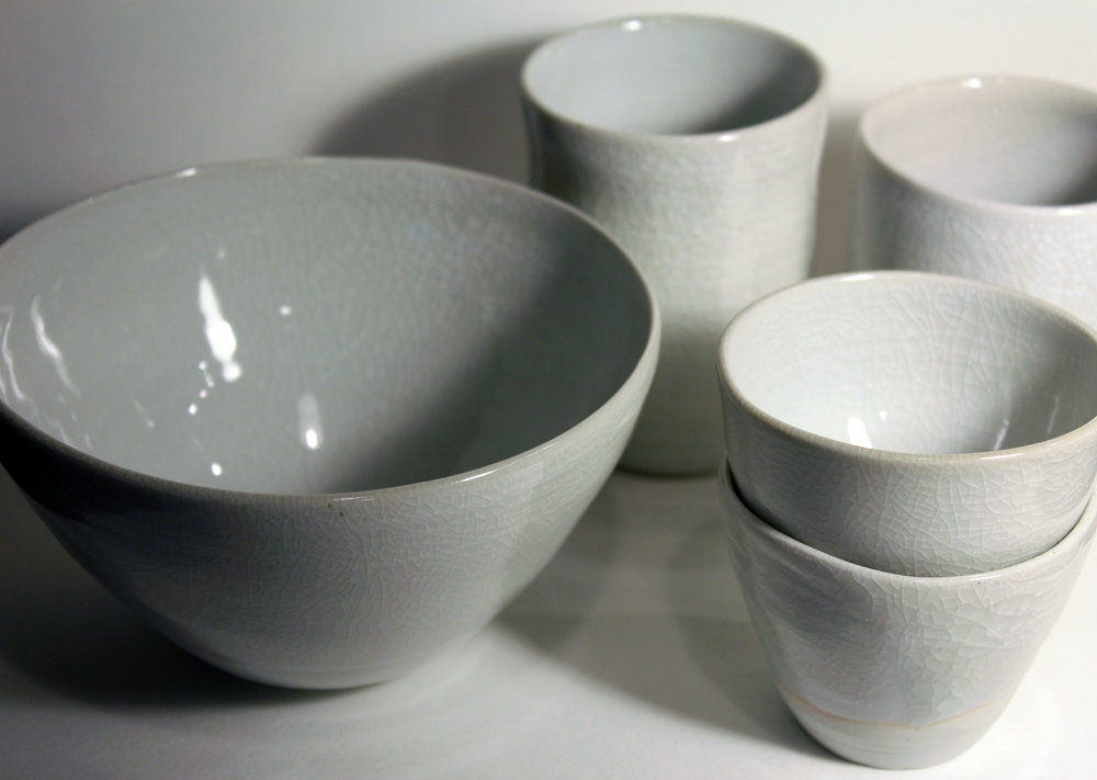 Porcelain, 2017  two teacups ~2.5 x 3 inches  two cups ~3.5 x 2.5 inches  bowl ~5 x 3 inches