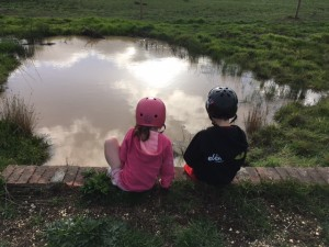 Picture perfect. Discovering puddles, or ponds. Or whatever.