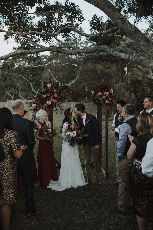 First kiss at Sunshine Coast Wedding