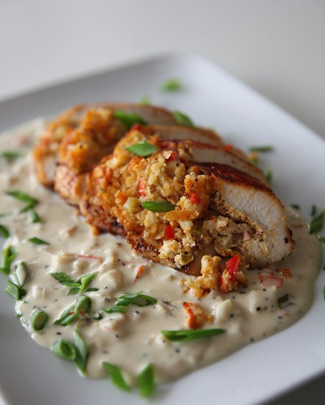 Check out our Taste of Louisiana Menu - Andouille Stuffed Chicken Breast with Sherry Crab Cream Sauce 😋 #bridesofaustin #austinwedding #atxfoodie #corporateevents #summerbbq #atxcatering #austincatering #austinfoodie #austinfoodstagram