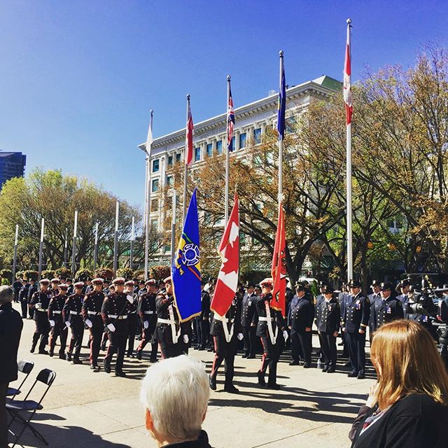 At the Fallen Firefighters Memorial today, where we honoured the @cgyfirefighters lost in the line of duty. On behalf of all of us, thank you to the brave men and women who serve and protect our community. It was very sad to have known so many names called out today.