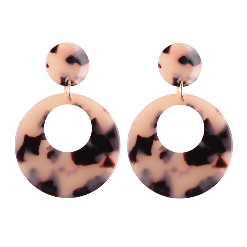 Button Stud Bright Tortoiseshell Hoop Earring Debase