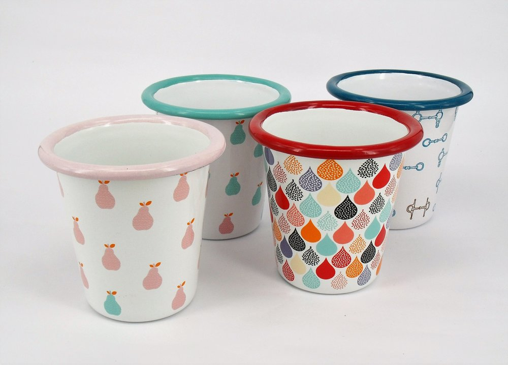 Enamel Cups - From Little Echidna - from $29 for a set of 2