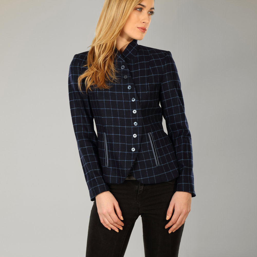 Navy Womens Donegal Tweed Curve Jacket - SHOP NOW