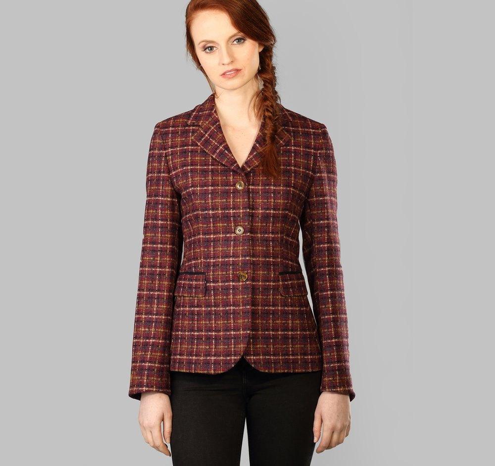 Wine Check Womens Donegal Tweed Jacket - SHOP NOW