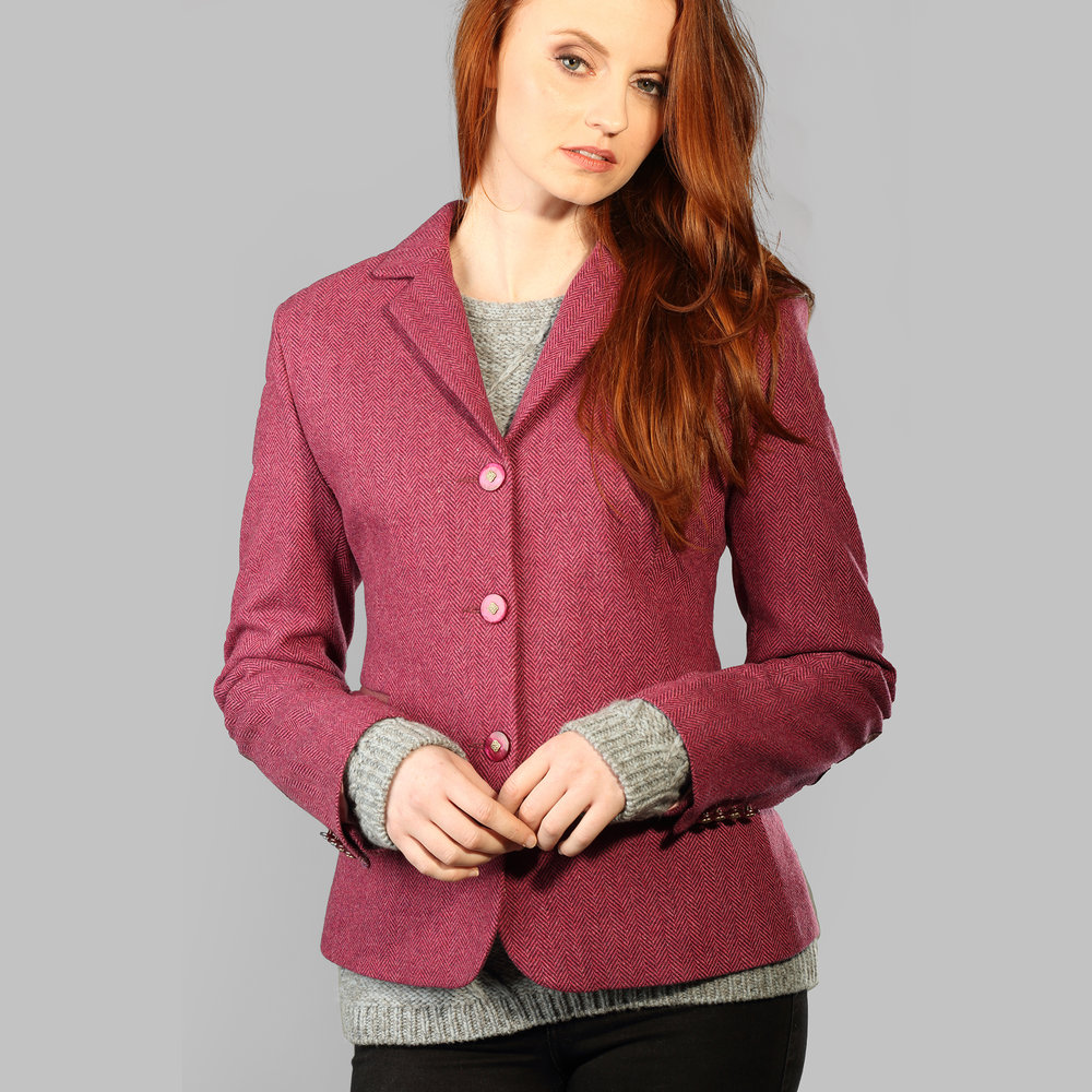 Pink Herringbone Donegal Tweed Womens Jacket - SHOP NOW