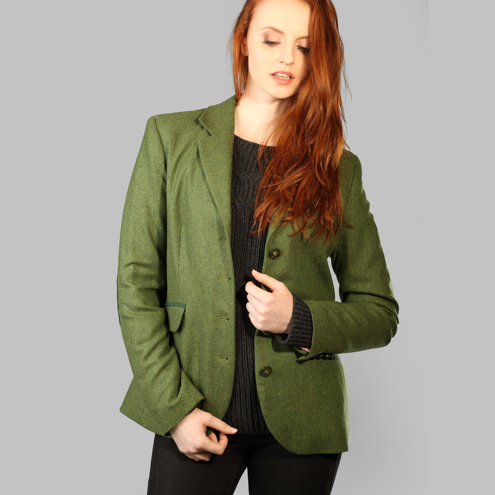 Olive Green Donegal Tweed Womens Jacket - SHOP NOW