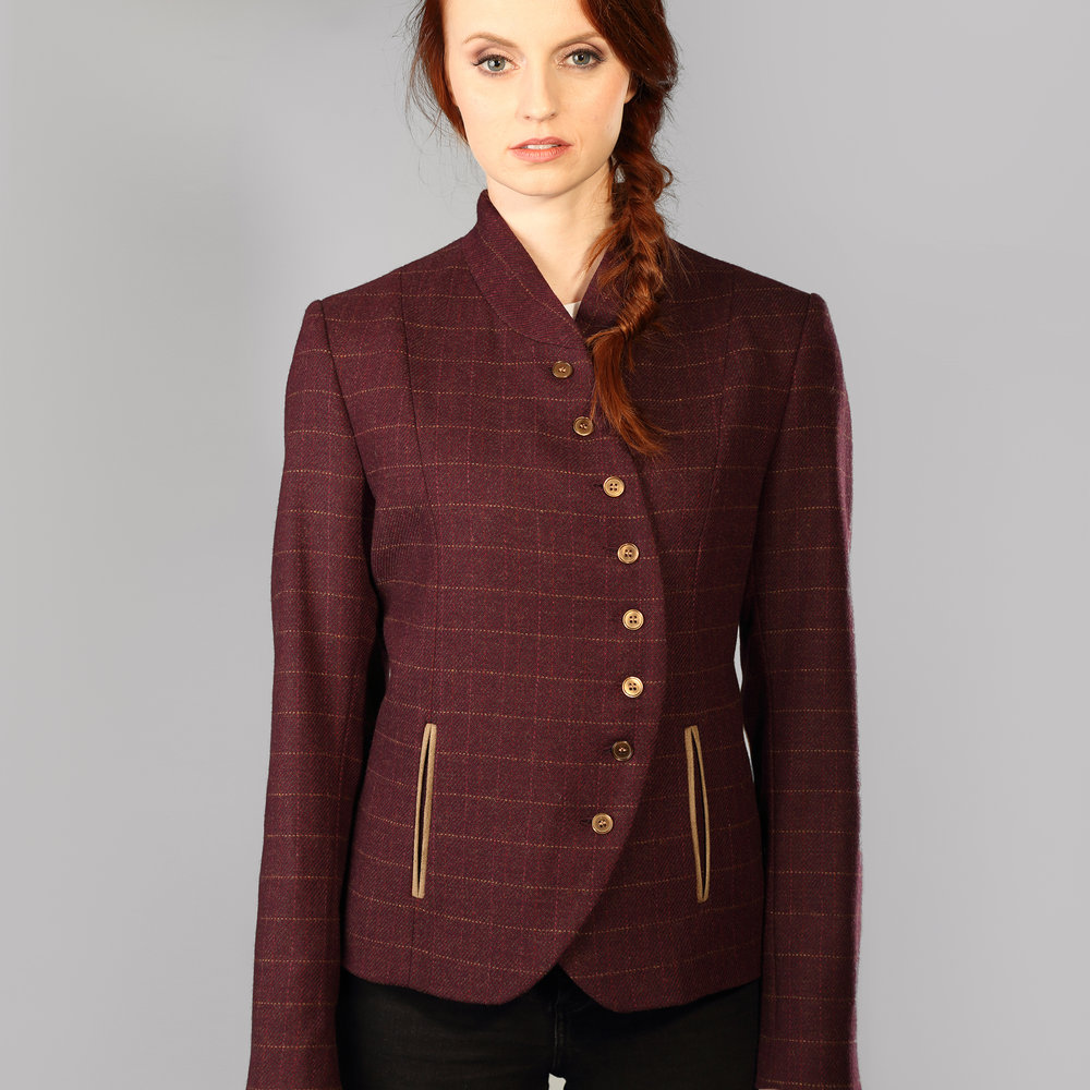 Wine Check Curve Womens Tweed Jacket - SHOP NOW