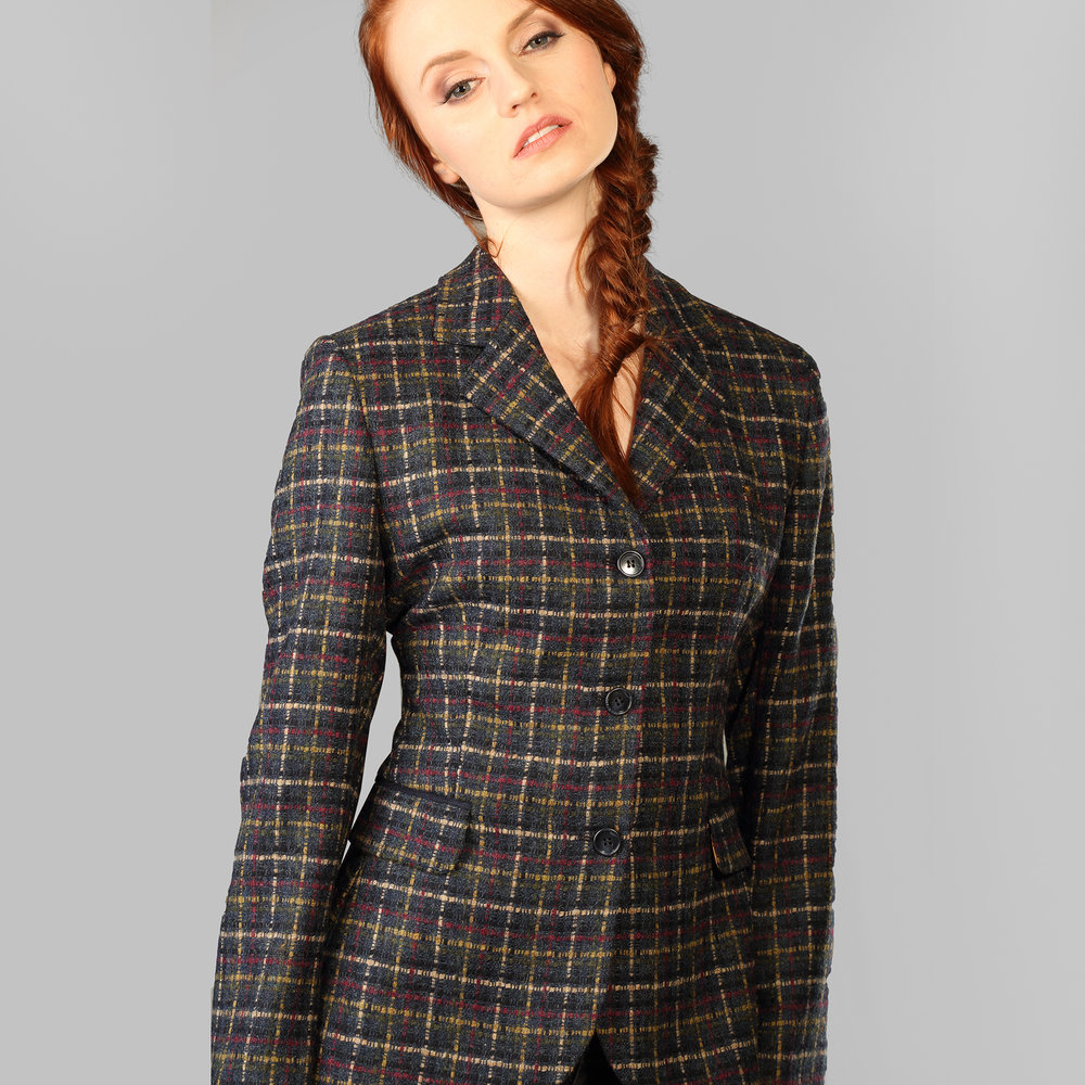 Navy Check Womens Donegal Tweed Jacket - SHOP NOW