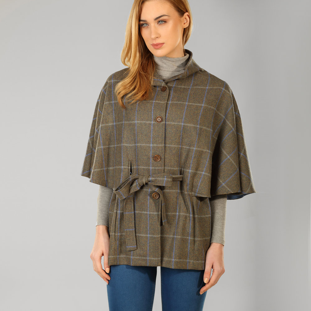 Grey Windowpane Belted Donegal Tweed Cape - SHOP NOW