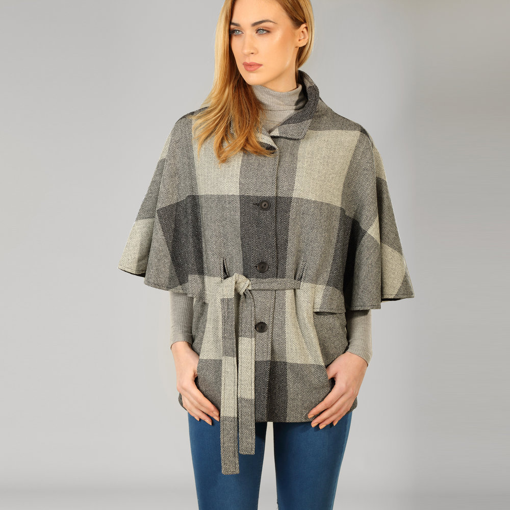 Grey Check Womens Donegal Tweed Belted Cape - SHOP NOW