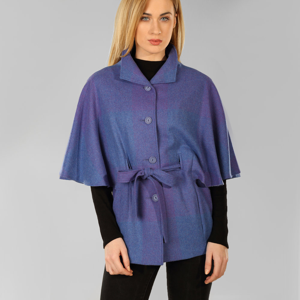 Signature Purple Donegal Tweed Belted Cape - SHOP NOW