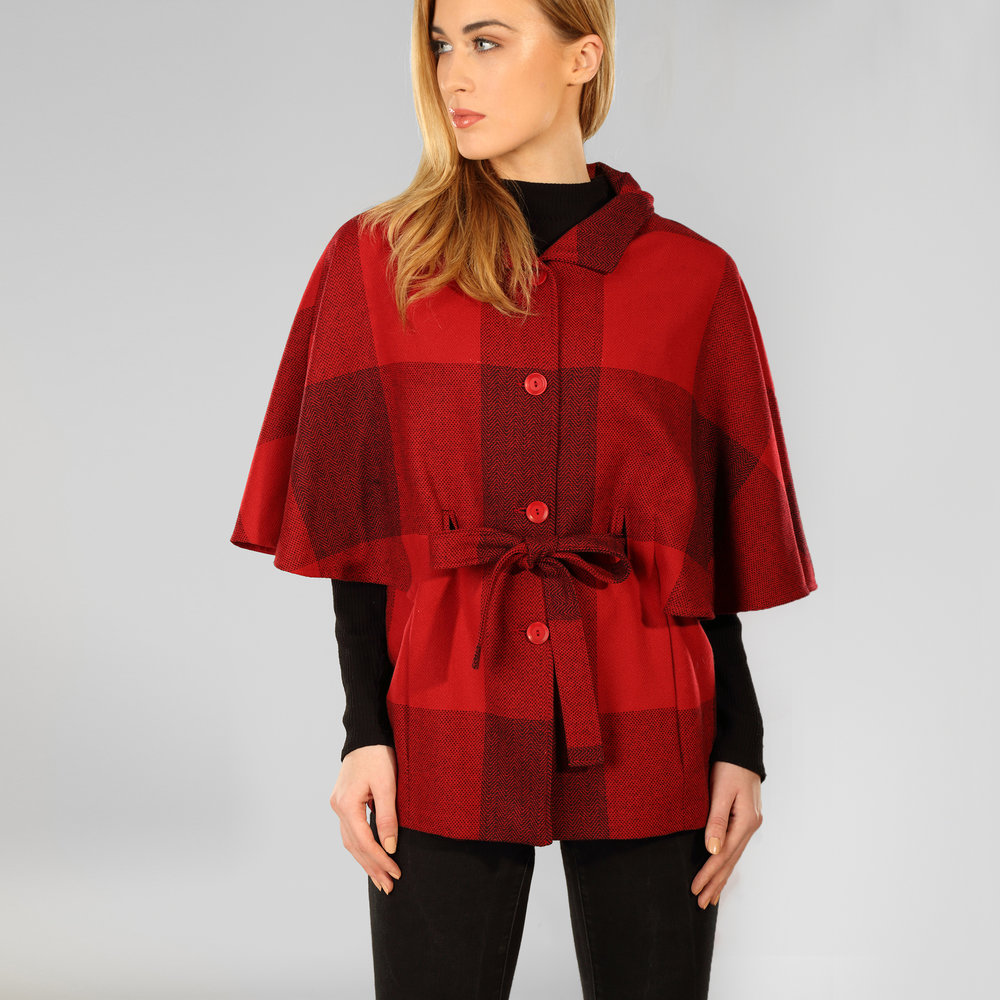 Red Check Donegal Tweed Belted Cape - SHOP NOW