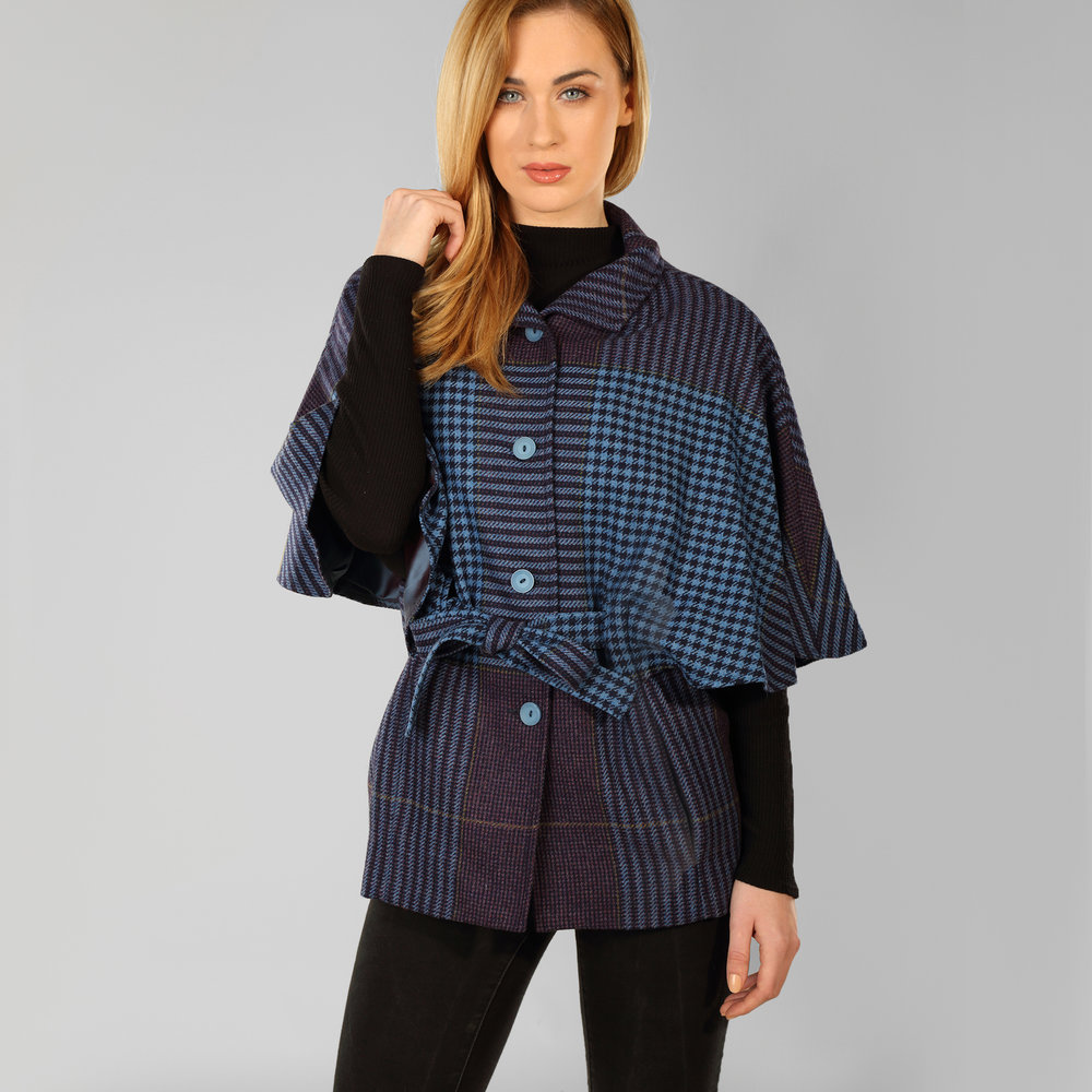 Blue Houndstooth Womens Belted Tweed Cape - SHOP NOW