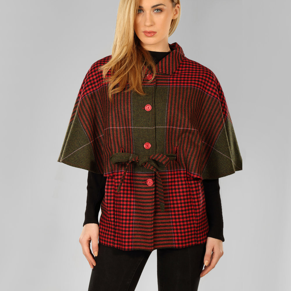 Red & Green Houndstooth Womens Tweed Cape - SHOP NOW